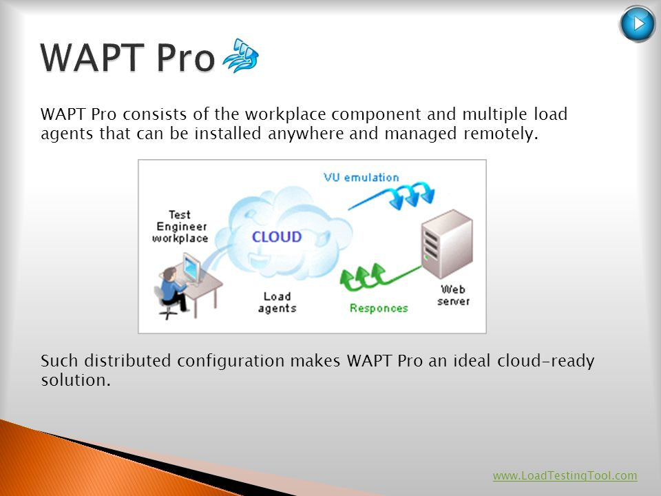 WAPT Pro WAPT Pro consists of the workplace component and multiple load agents that can be installed anywhere and managed remotely.