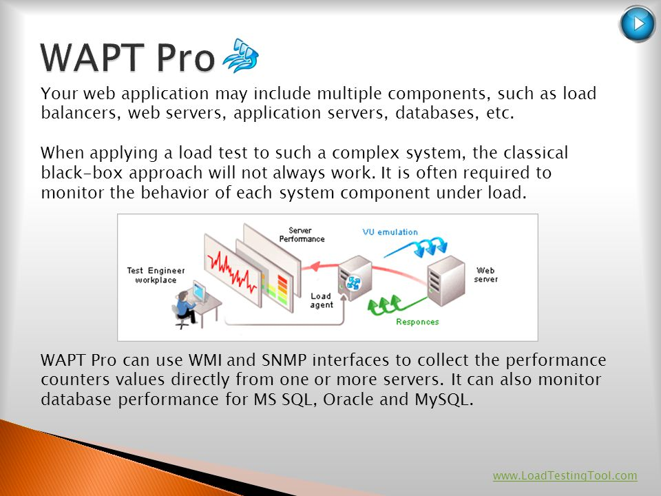 WAPT Pro Your web application may include multiple components, such as load balancers, web servers, application servers, databases, etc.