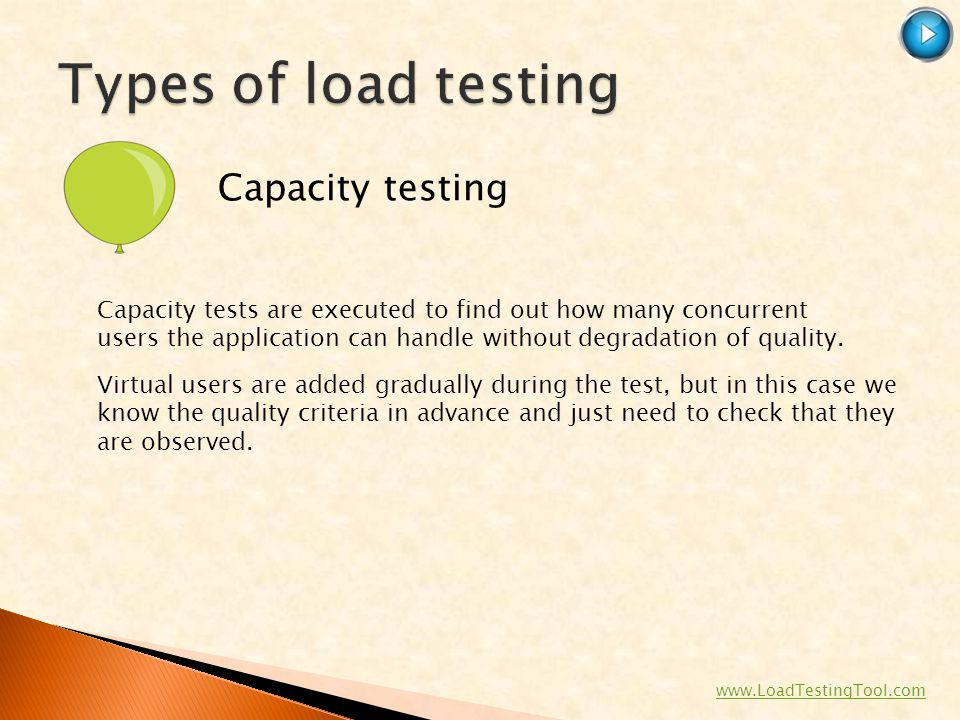 Types of load testing Capacity testing