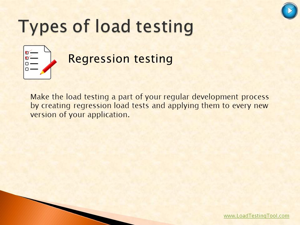 Types of load testing Regression testing