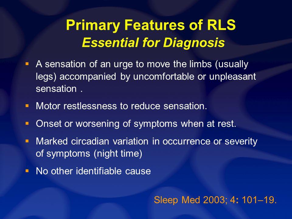 Symptoms of RLS Follow Circadian Rhythm Hening W et al, Sleep 22:901-915 1999