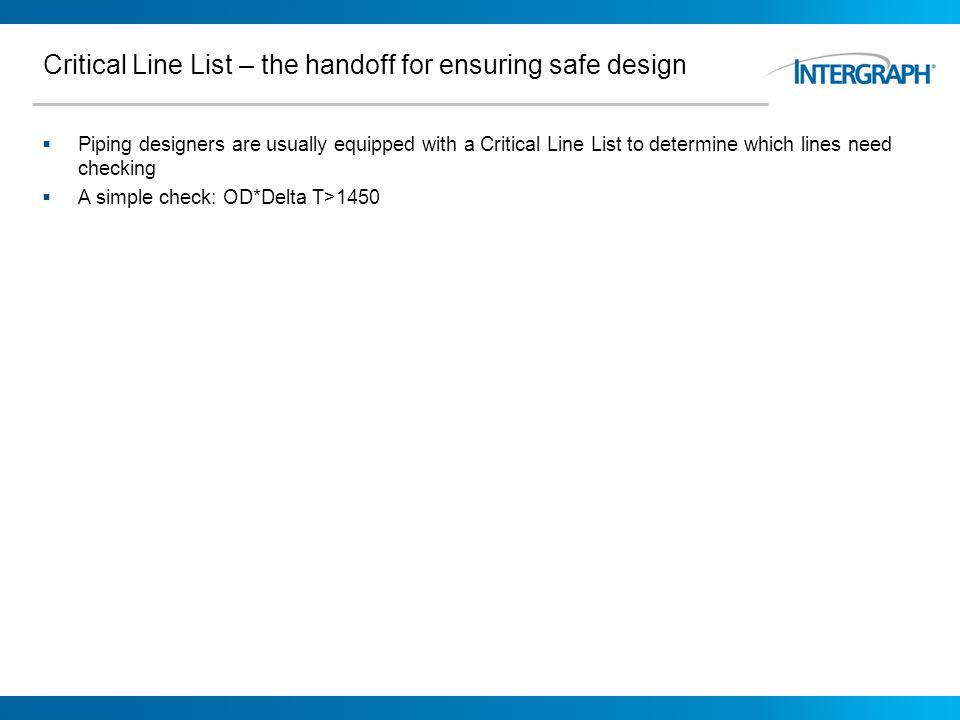 Critical Line List – the handoff for ensuring safe design
