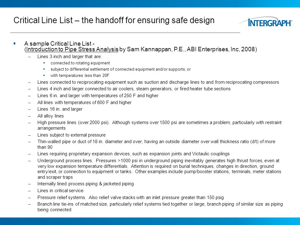 Critical Line List – the handoff for ensuring safe design