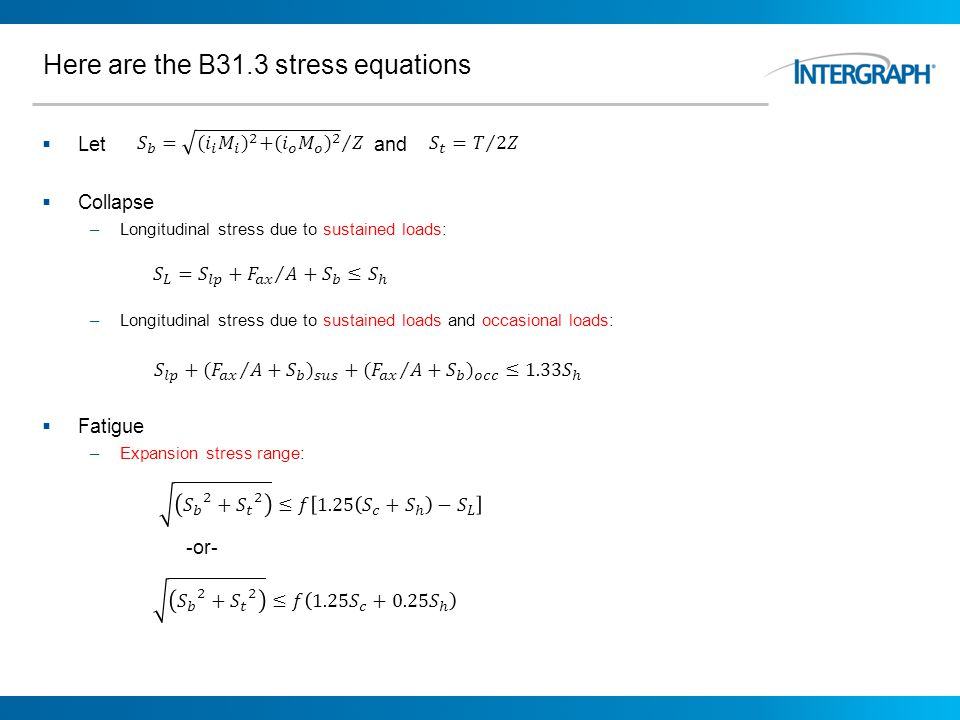 Here are the B31.3 stress equations