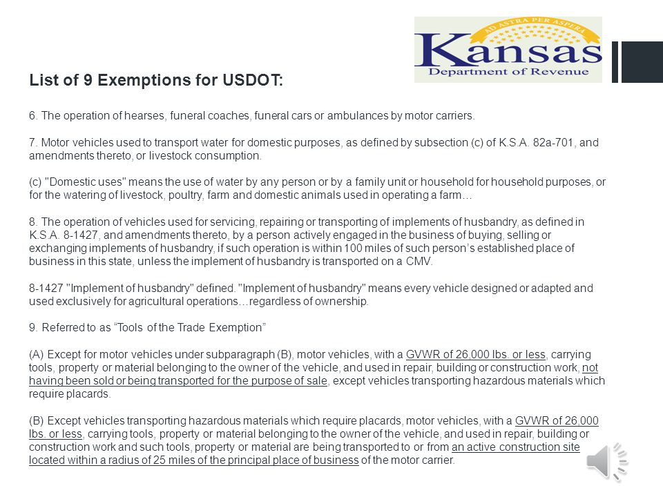 List of 9 Exemptions for USDOT: