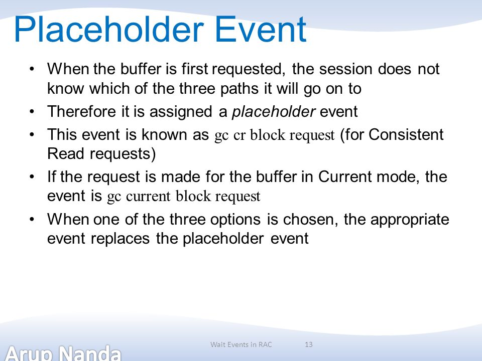 Placeholder Event When the buffer is first requested, the session does not know which of the three paths it will go on to.