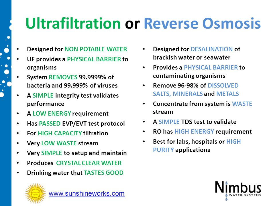 Ultrafiltration or Reverse Osmosis