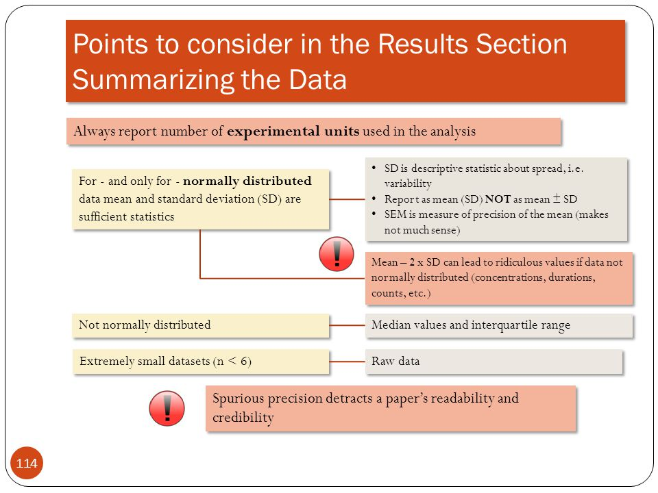 Points to consider in the Results Section Summarizing the Data