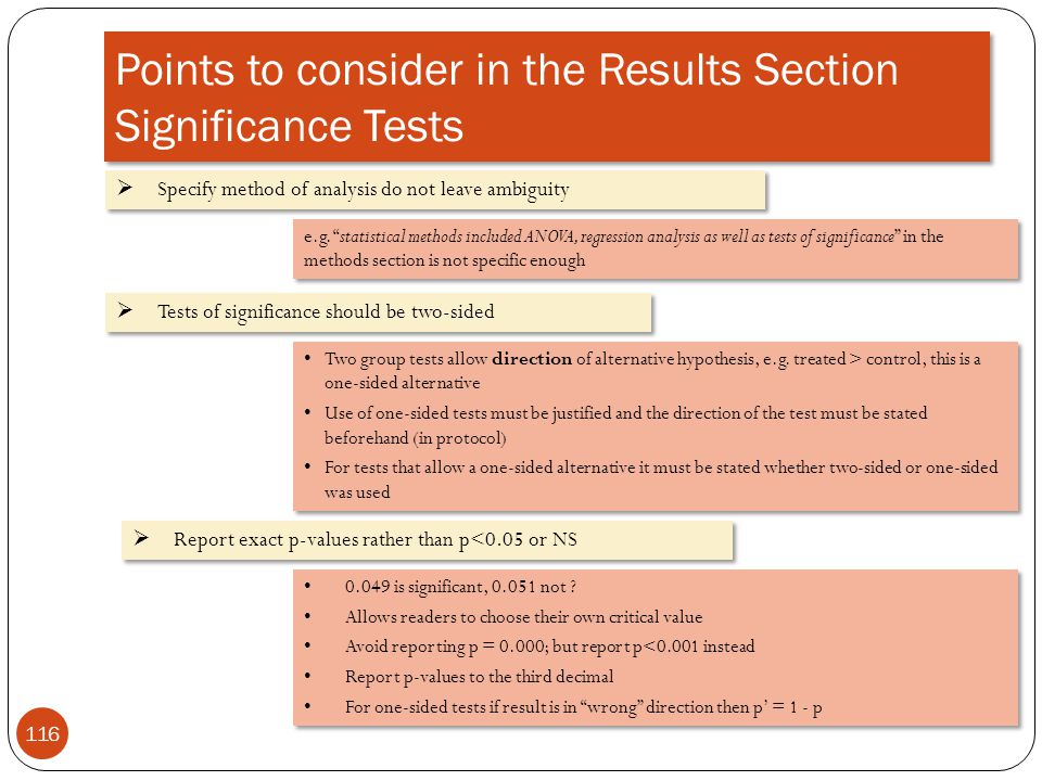 Points to consider in the Results Section Significance Tests