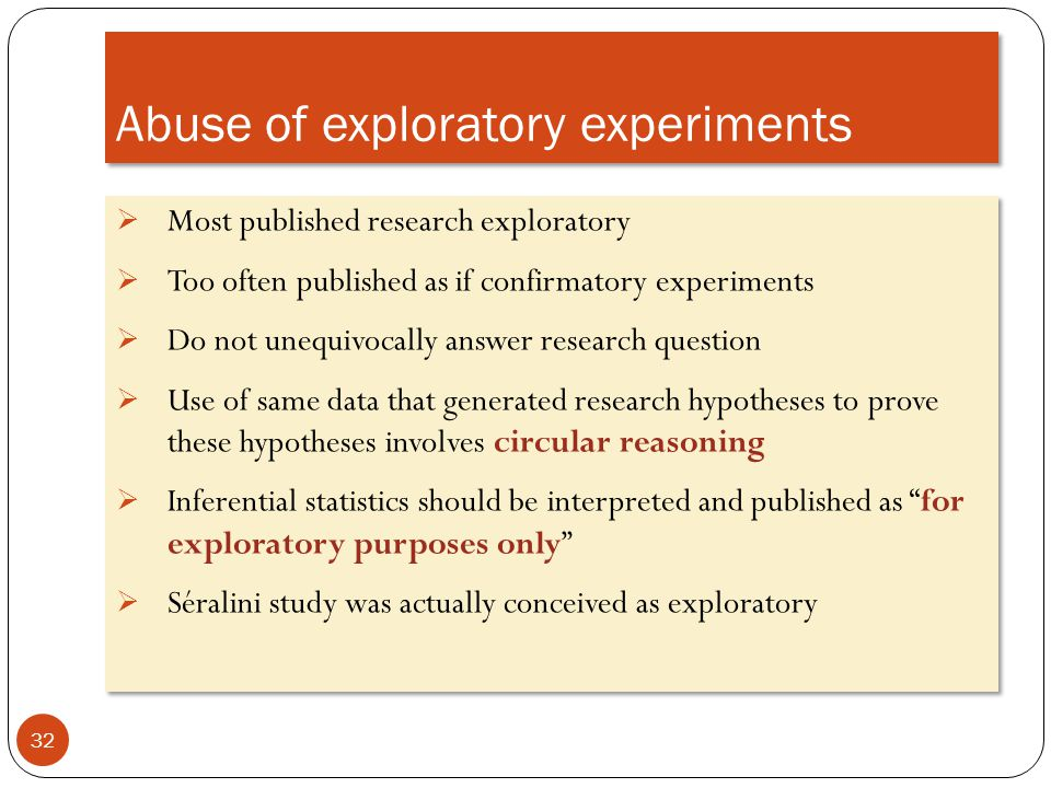 Abuse of exploratory experiments