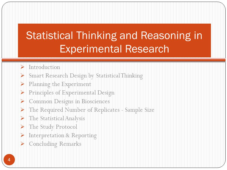Statistical Thinking and Reasoning in Experimental Research
