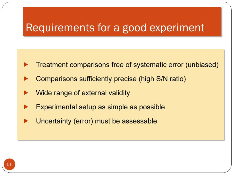 Requirements for a good experiment