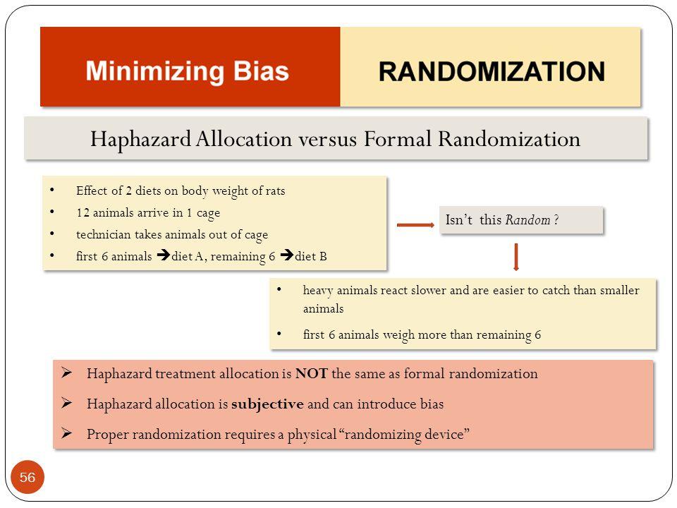 Haphazard Allocation versus Formal Randomization