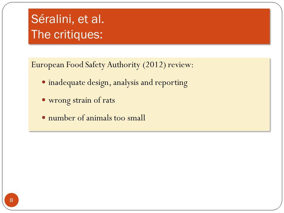 Séralini, et al. The critiques: