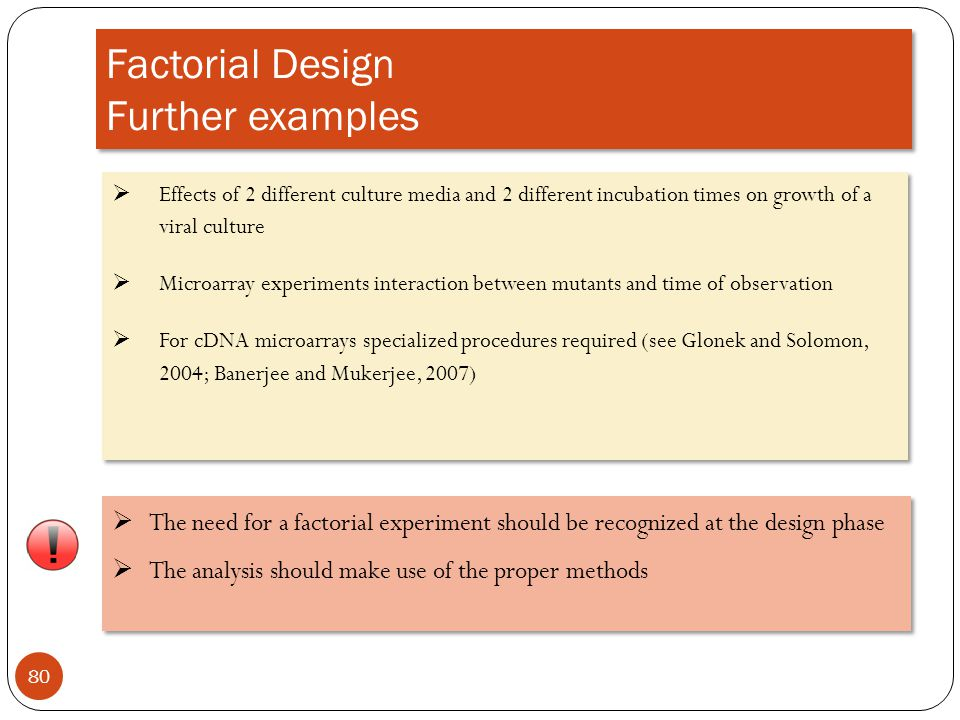 Factorial Design Further examples