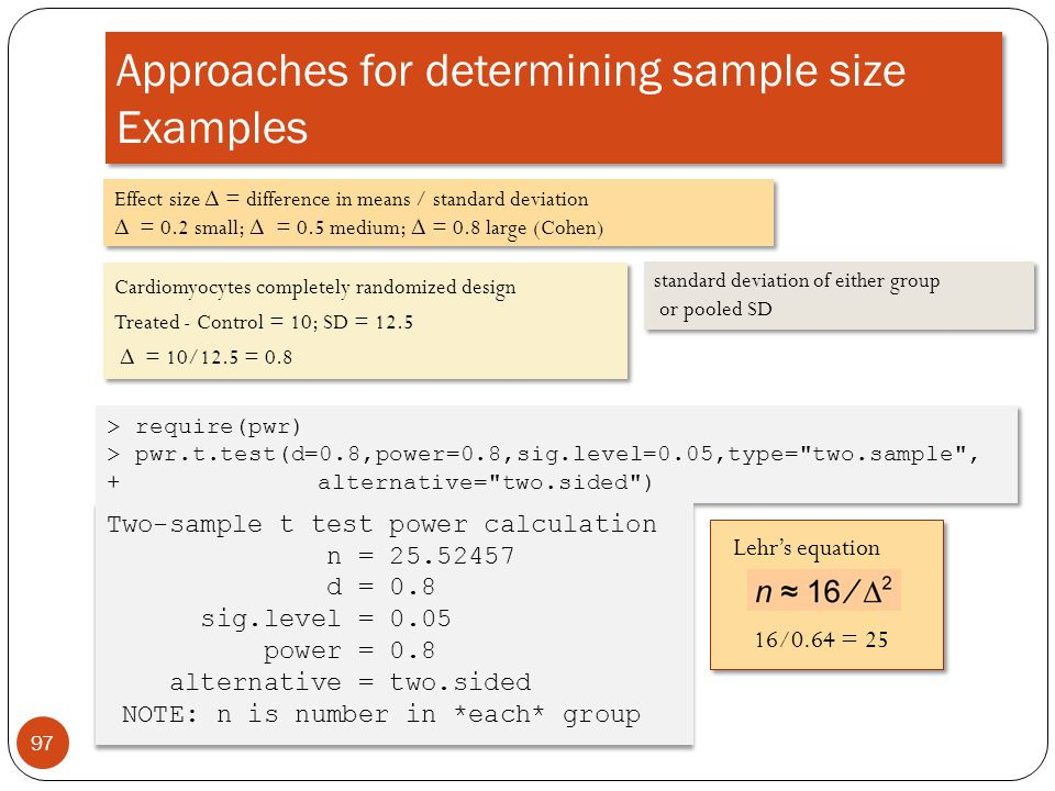 Approaches for determining sample size Examples