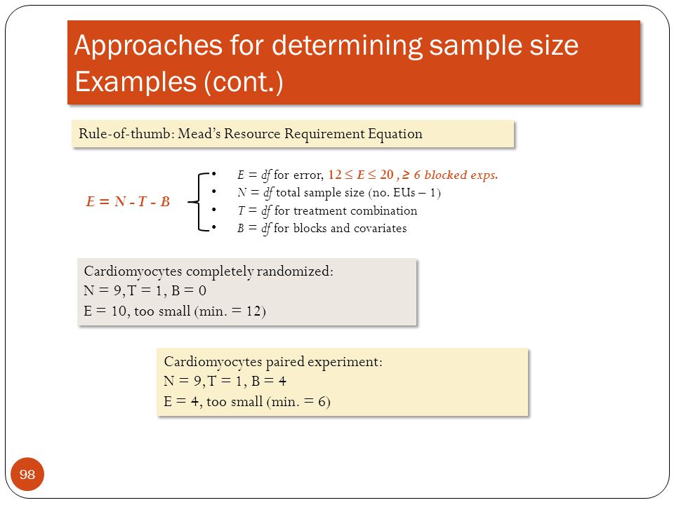 Approaches for determining sample size Examples (cont.)
