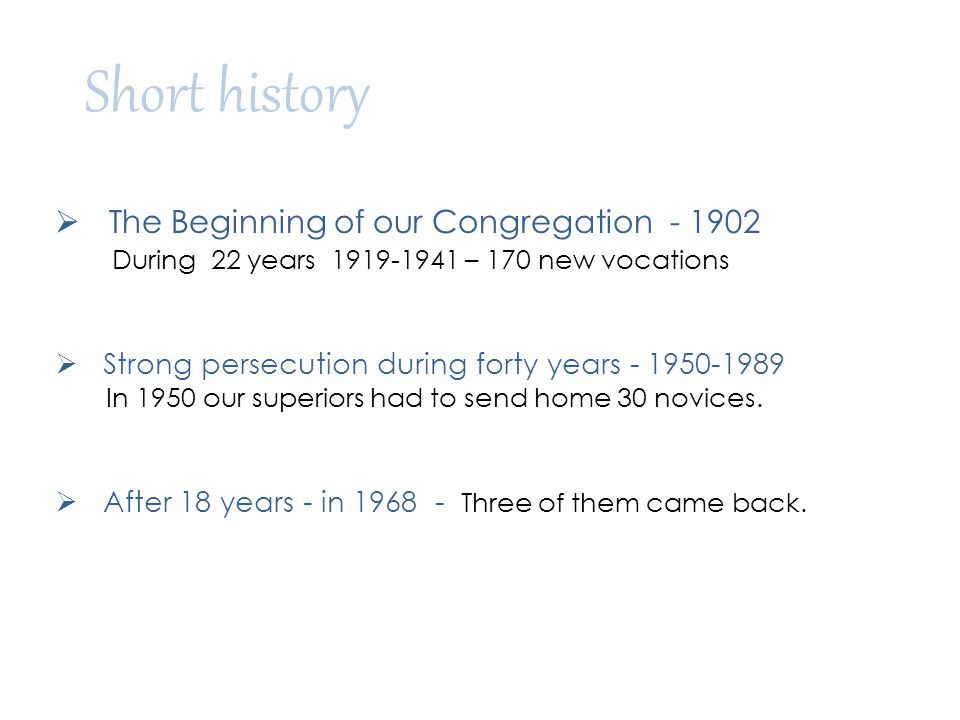 Short history The Beginning of our Congregation - 1902
