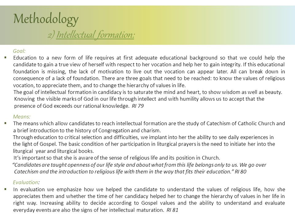 Methodology 2) Intellectual formation: