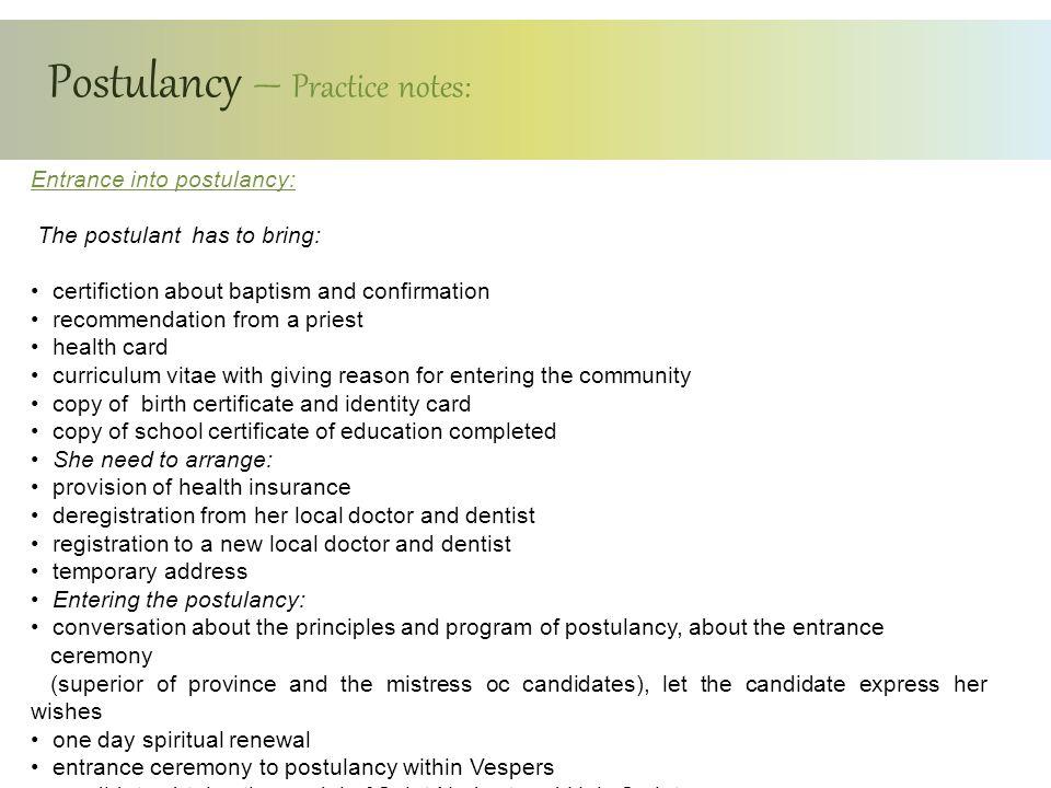 Postulancy – Practice notes: