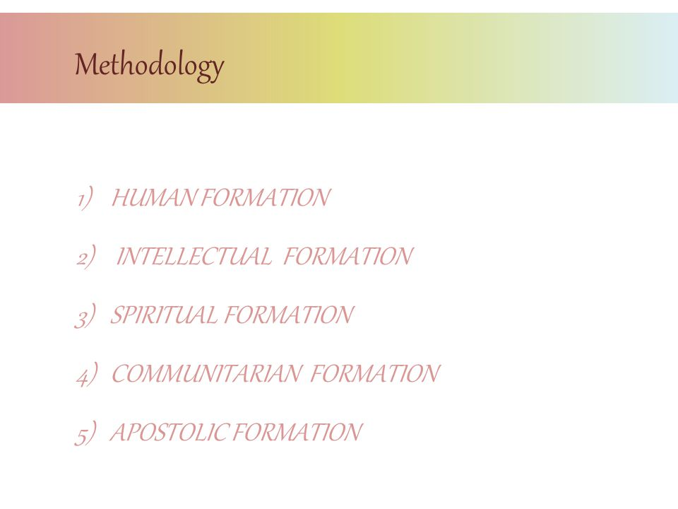 Methodology HUMAN FORMATION INTELLECTUAL FORMATION SPIRITUAL FORMATION