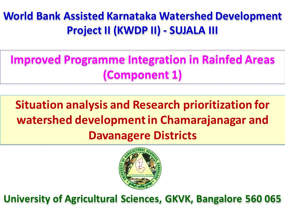 Improved Programme Integration in Rainfed Areas (Component 1)