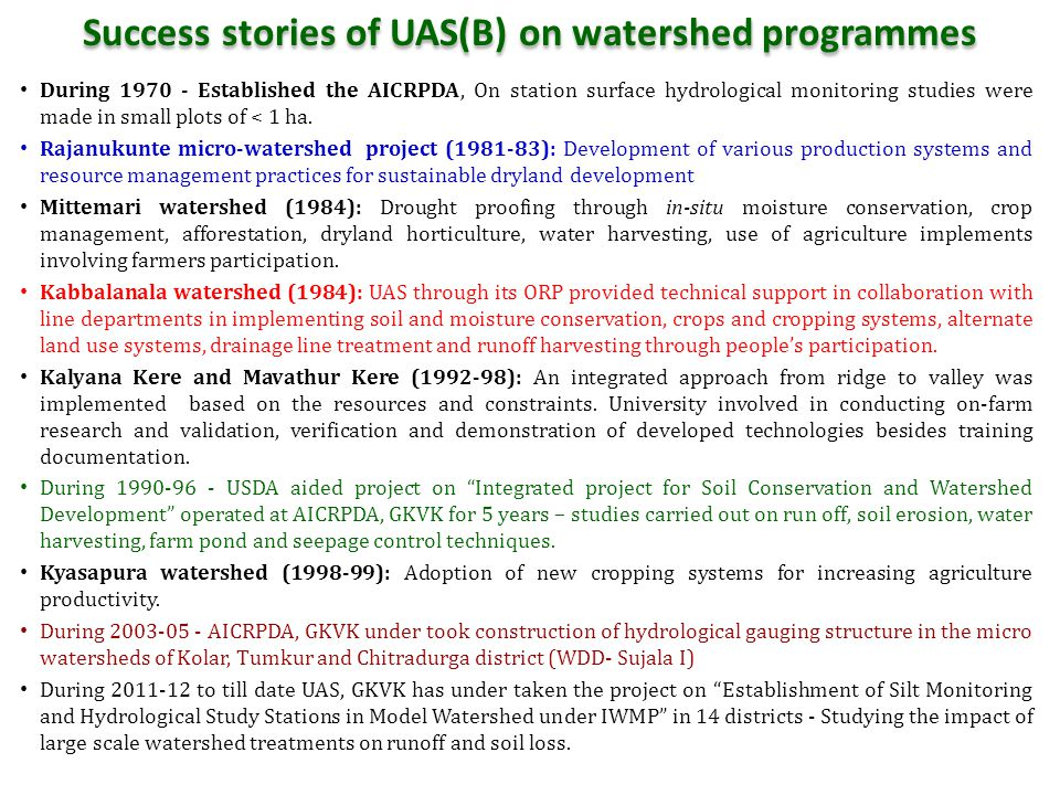 Success stories of UAS(B) on watershed programmes