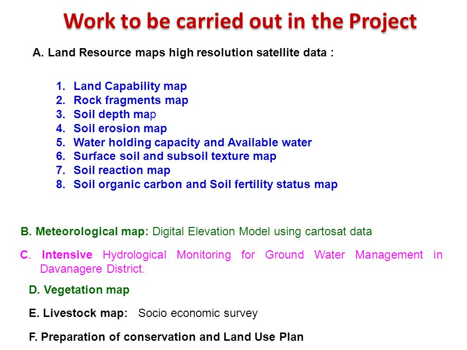 Work to be carried out in the Project