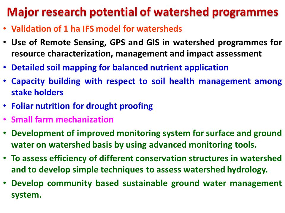 Major research potential of watershed programmes