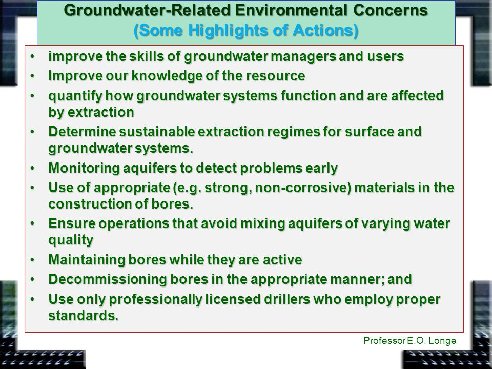 Groundwater-Related Environmental Concerns (Some Highlights of Actions)