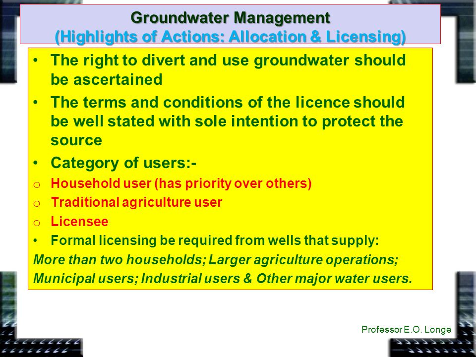 Groundwater Management (Highlights of Actions: Allocation & Licensing)