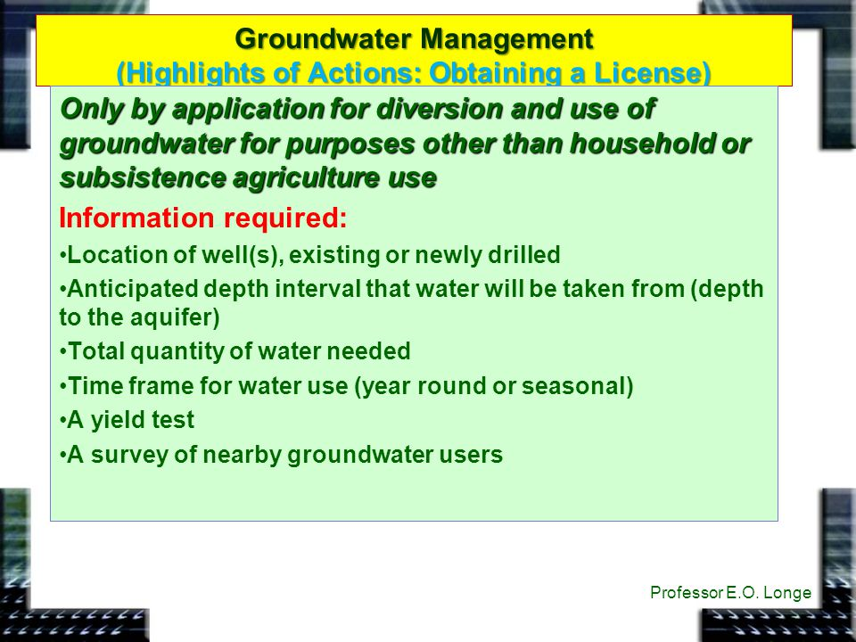 Groundwater Management (Highlights of Actions: Obtaining a License)