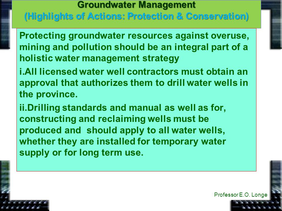 Groundwater Management (Highlights of Actions: Protection & Conservation)