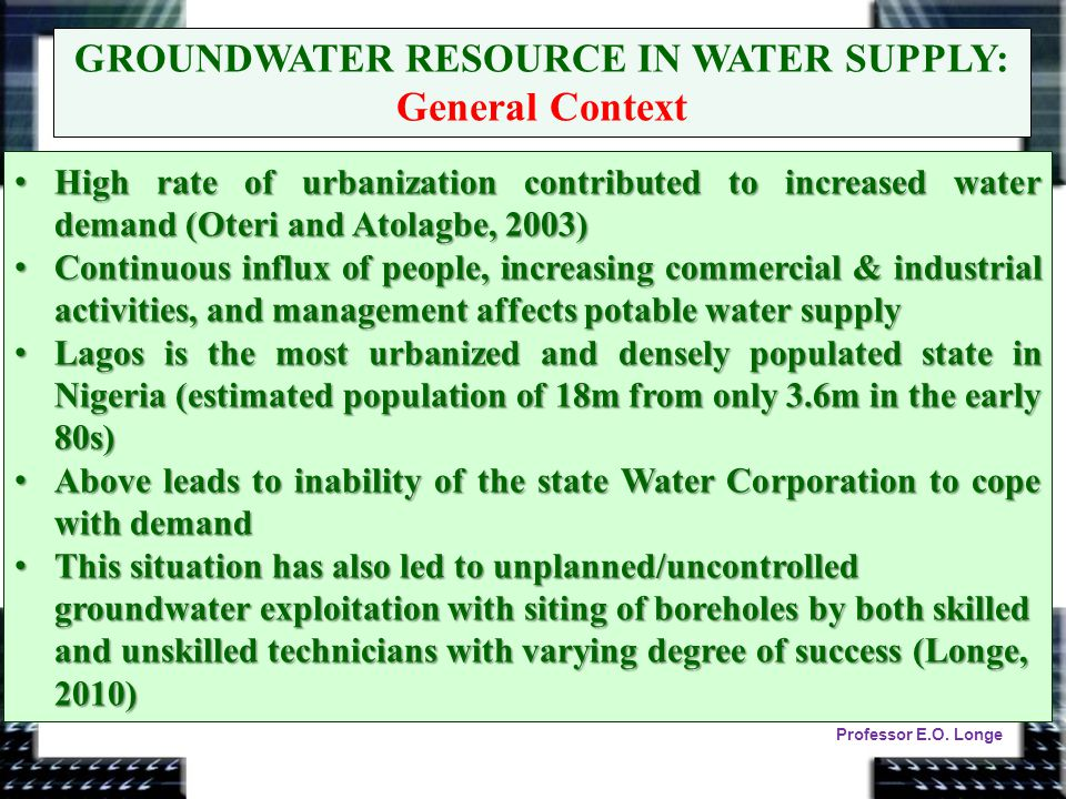 GROUNDWATER RESOURCE IN WATER SUPPLY: General Context