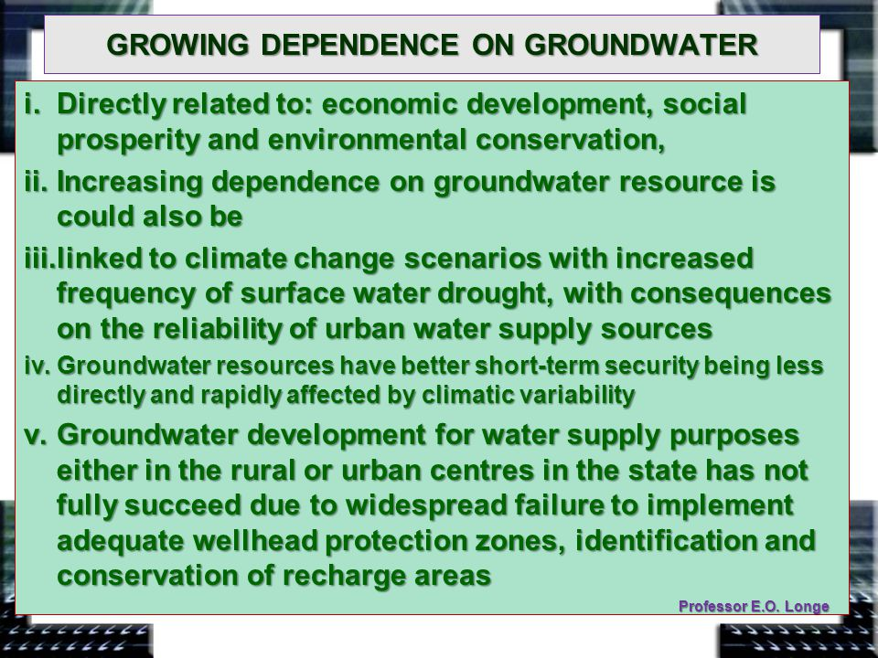 GROWING DEPENDENCE ON GROUNDWATER