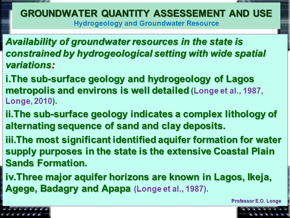 GROUNDWATER QUANTITY ASSESSEMENT AND USE Hydrogeology and Groundwater Resource