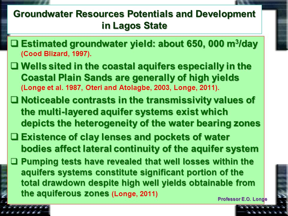 Groundwater Resources Potentials and Development in Lagos State