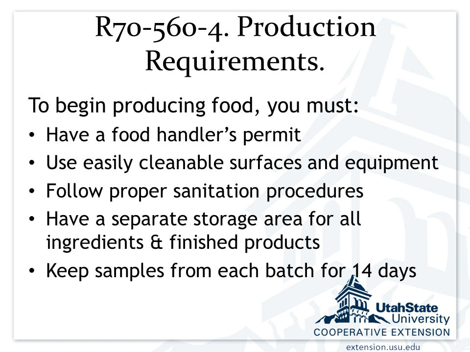 R Production Requirements.