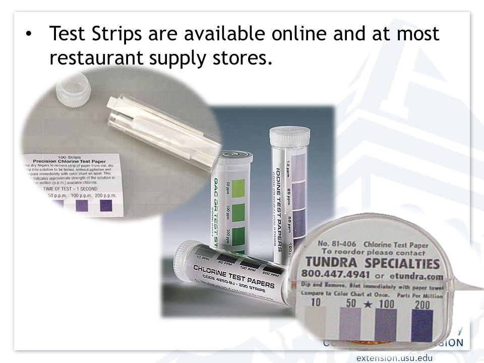 Test Strips are available online and at most restaurant supply stores.