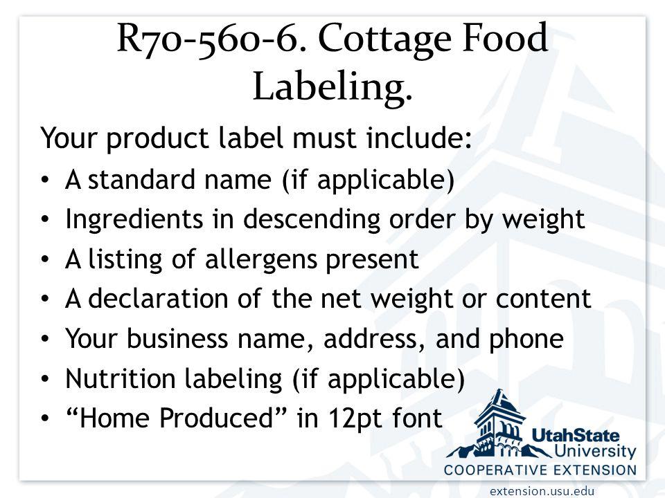 R70-560-6. Cottage Food Labeling.