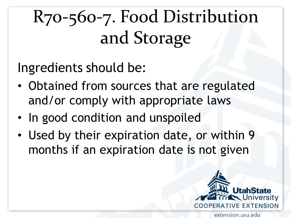 R70-560-7. Food Distribution and Storage