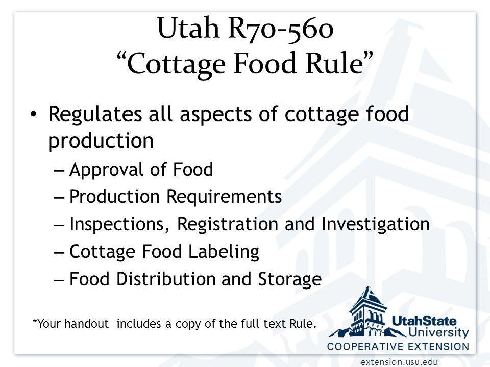 Utah R70-560 Cottage Food Rule