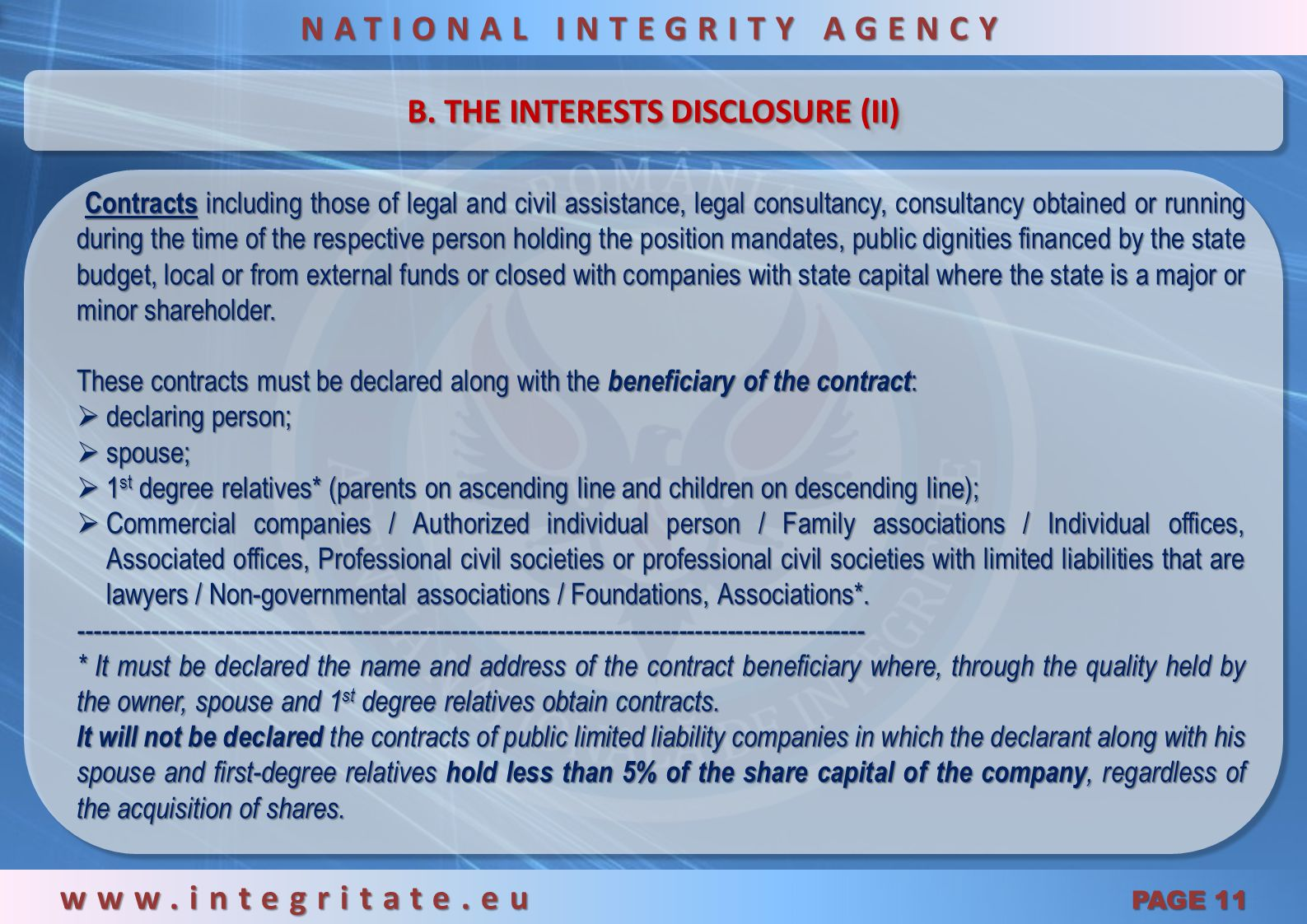 NATIONAL INTEGRITY AGENCY