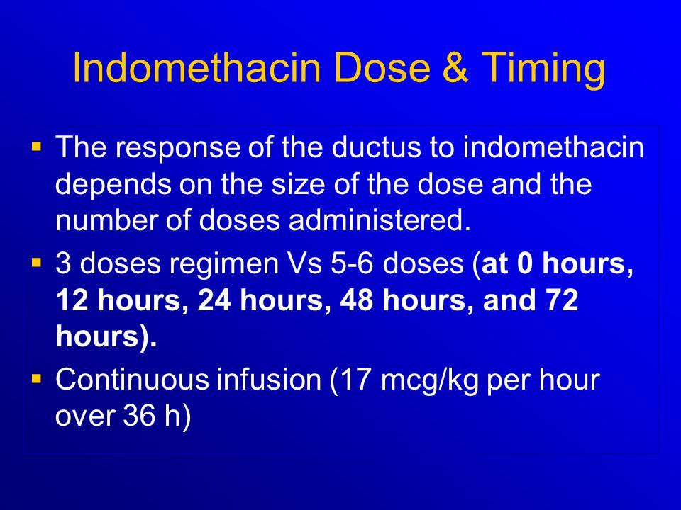 Indomethacin Dose & Timing