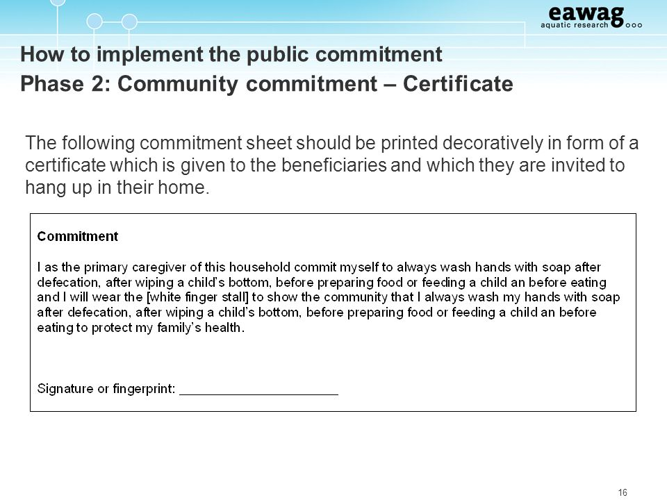 How to implement the public commitment