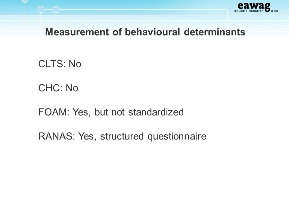 Measurement of behavioural determinants