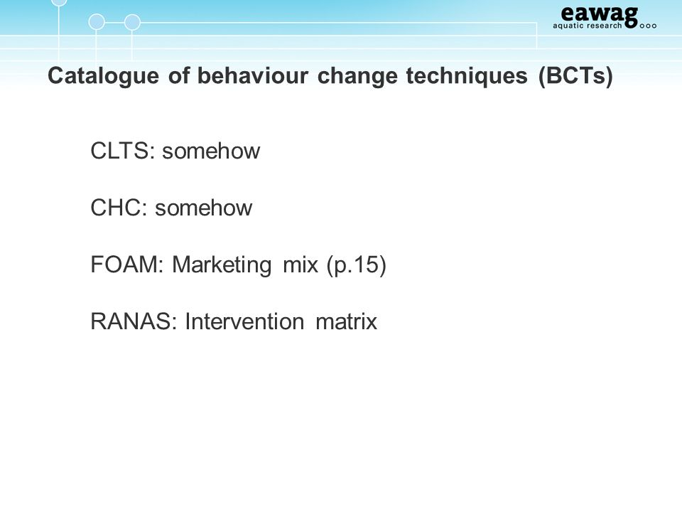 Catalogue of behaviour change techniques (BCTs)