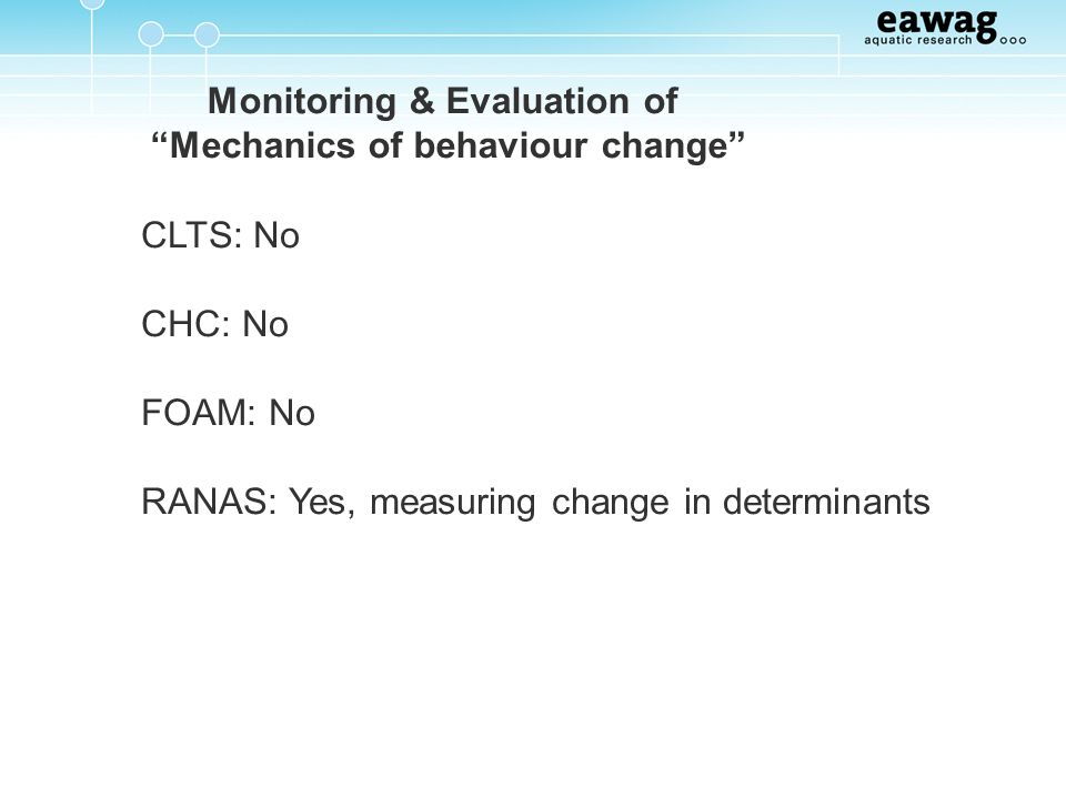 Monitoring & Evaluation of Mechanics of behaviour change