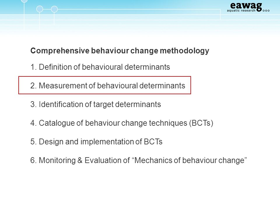 Comprehensive behaviour change methodology