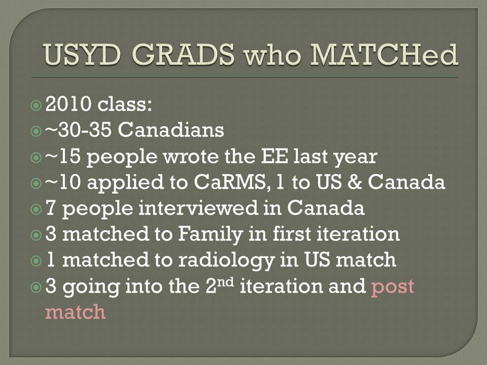 USYD GRADS who MATCHed 2010 class: ~30-35 Canadians